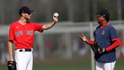 <p>               Boston Red Sox starting pitcher Chris Sale, left, talks with Pedro Martinez during spring training baseball camp Wednesday, Feb. 19, 2020, in Sarasota, Fla. (AP Photo/John Bazemore)             </p>