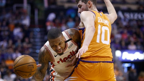 <p>               Portland Trail Blazers guard Damian Lillard, left, is fouled as he tries to dribble past Phoenix Suns guard Ty Jerome (10) during the first half of an NBA basketball game Friday, March 6, 2020, in Phoenix. (AP Photo/Ross D. Franklin)             </p>
