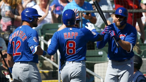 <p>               Chicago Cubs' Ian Happ (8) celebrates his home run against the Colorado Rockies with Kyle Schwarber (12) and Steven Souza Jr., right, during the first inning of a spring training baseball game Tuesday, March 3, 2020, in Scottsdale, Ariz. (AP Photo/Ross D. Franklin)             </p>