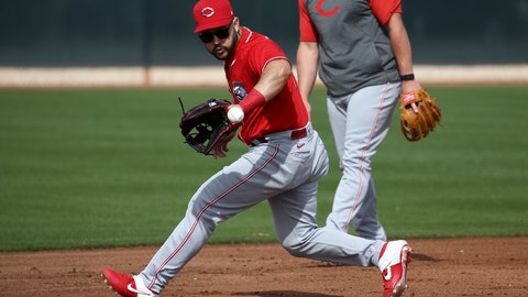 <p>               Cincinnati Reds third baseman Eugenio Suarez fields a grounder during baseball spring training Friday, Feb. 21, 2020, in Goodyear, Ariz. (AP Photo/Ross D. Franklin)             </p>
