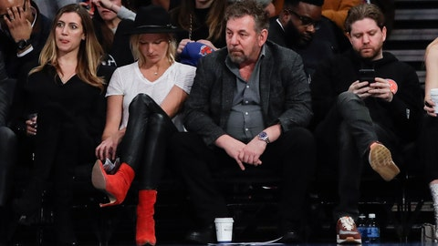 <p>               New York Knicks owner James Dolan, center, reacts with fans during the second half of the team's NBA basketball game against the Memphis Grizzlies on Wednesday, Jan. 29, 2020, in New York. The Grizzlies won 127-106. (AP Photo/Frank Franklin II)             </p>