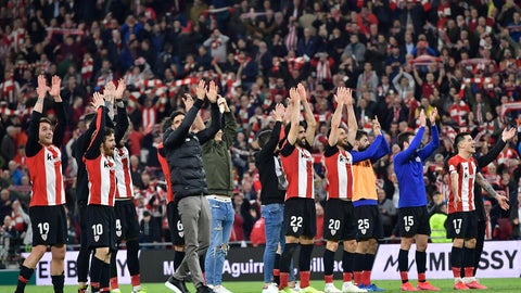 <p>               Athletic Bilbao players applaud fans at the end of the Spanish Copa del Rey, quarter final, soccer match between Athletic Bilbao and Barcelona at San Mames stadium in Bilbao, Spain, Thursday, Feb. 6, 2020. Athletic Bilbao won 1-0. (AP Photo/Alvaro Barrientos)             </p>