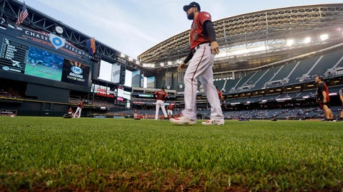 <p>               FILE - In this March 25, 2019, file photo, Arizona Diamondbacks' Steven Souza Jr. walks on new turf at the team's home field before an exhibition baseball game against the Chicago White Sox in Phoenix. Baseball's opening day isn't happening in Phoenix or anywhere else on Thursday as planned. The sport is on hold until at least mid-May while the world fights the coronavirus pandemic. If baseball does resume this season, there could be some radical scheduling solutions as MLB tries to squeeze in as many games as possible. (AP Photo/Elaine Thompson, File)             </p>