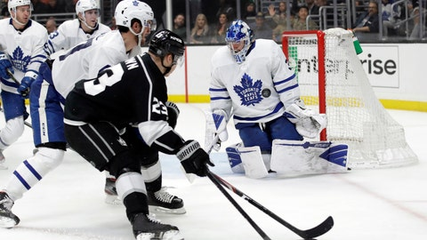 <p>               Toronto Maple Leafs goaltender Frederik Andersen, right, stops a shot against the Los Angeles Kings during the second period of an NHL hockey game Thursday, March 5, 2020, in Los Angeles. (AP Photo/Marcio Jose Sanchez)             </p>