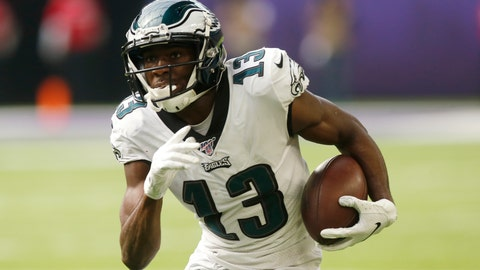 <p>               FILE - In this Oct. 13, 2019 file photo, Philadelphia Eagles wide receiver Nelson Agholor runs upfield after catching a pass during the first half of the team's NFL football game against the Minnesota Vikings in Minneapolis. The Las Vegas Raiders have agreed to a one-year contract with free agent Agholor to add a veteran receiver on offense. (AP Photo/Jim Mone, File)             </p>