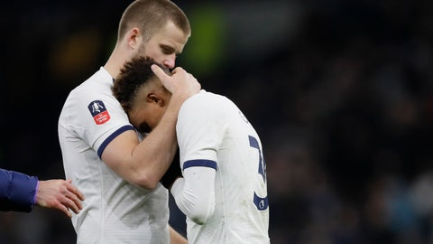 <p>               Tottenham's Eric Dier, left, hugs with his teammate Tottenham's Gedson Fernandes at the end of the English FA Cup fifth round soccer match between Tottenham Hotspur and Norwich City at Tottenham Hotspur stadium in London Wednesday, March 4, 2020. Norwich won 4-3 after penalty shootouts. (AP Photo/Kirsty Wigglesworth)             </p>