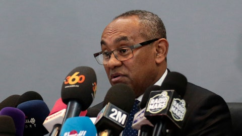 <p>               FILE - In this Tuesday, March 28, 2017 file photo, new president of the African soccer confederation Ahmad speaks at a press conference in Marrakesh, Morocco. Financial wrongdoing across African soccer has been unearthed in a confidential audit of the continent's governing body that raises concerns about the legitimacy of millions of dollars of payments to executives and national associations. The report covers the period 2015-2019 and the presidencies of Issa Hayatou and successor Ahmad, who remains in power. (AP Photo/Mosa'ab Elshamy, File)             </p>