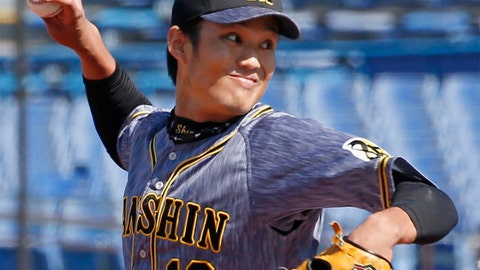 <p>               In this March 11, 2020, photo, Hanshin Tigers pitcher Shintaro Fujinami throws a ball against Yakult Swallows in a pre-season match in Tokyo. Fujinami became the first professional baseball player in Japan to test positive for the new coronavirus. Fujinami was examined at a hospital on Tuesday, March 24, and Wednesday, March 25, and a doctor recommended he have a PCR test for the new coronavirus. Kyodo News agency reported on Friday, March 27,  that the result was positive.(Kyodo News via AP)             </p>