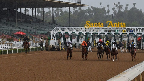 <p>               Horses run in the fourth race at Santa Anita Park in front of empty stands Saturday, March 14, 2020, in Arcadia, Calif. While most of the sports world is idled by the coronavirus pandemic, horse racing runs on. (AP Photo/Mark J. Terrill)             </p>