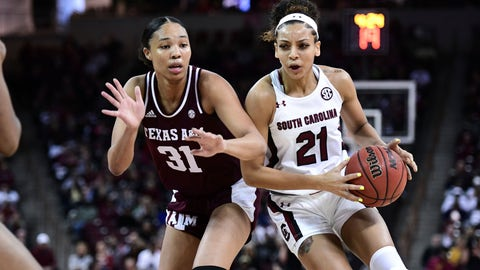 <p>               South Carolina forward Mikiah Herbert Harrigan (21) drives against Texas A&M forward N'dea Jones (31) during the first half of a women's NCAA college basketball game Sunday, March 1, 2020, in Columbia, S.C. (AP Photo/Sean Rayford)             </p>
