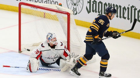 <p>               Buffalo Sabres forward Dominik Kahun (95) scores against Washington Capitals goalie Branden Holtby (70) during the shootout period of an NHL hockey game Monday, March 9, 2020, in Buffalo, N.Y. (AP Photo/Jeffrey T. Barnes)             </p>