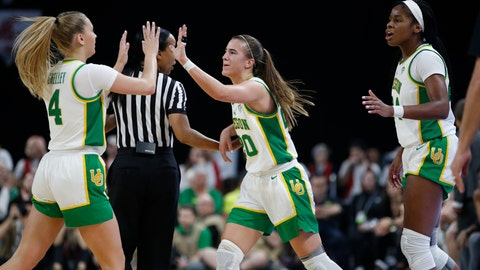 <p>               Oregon's Sabrina Ionescu, center, celebrates with Jaz Shelley, left, and Ruthy Hebard, right, during the first half of an NCAA college basketball game against Stanford in the final of the Pac-12 women's tournament Sunday, March 8, 2020, in Las Vegas. (AP Photo/John Locher)             </p>