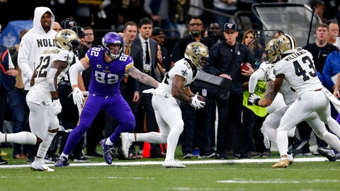 <p>               New Orleans Saints strong safety Vonn Bell (24) returns a fumble recovery as Minnesota Vikings tight end Kyle Rudolph (82) pursues in the first half of an NFL wild-card playoff football game, Sunday, Jan. 5, 2020, in New Orleans. (AP Photo/Brett Duke)             </p>