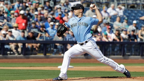 <p>               Seattle Mariners' Marco Gonzales throws during the first inning of a spring training baseball game against the Chicago Cubs, Monday, Feb. 24, 2020, in Peoria, Ariz. (AP Photo/Darron Cummings)             </p>