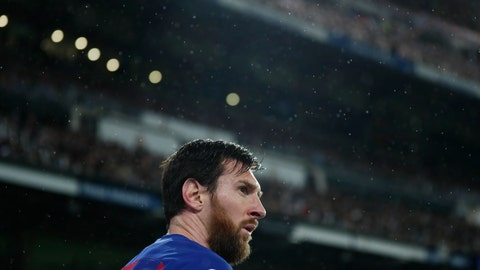 <p>               Barcelona's Lionel Messi attends the Spanish La Liga soccer match between Real Madrid and Barcelona at the Santiago Bernabeu stadium in Madrid, Spain, Sunday, March 1, 2020. (AP Photo/Manu Fernandez)             </p>