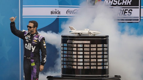 <p>               Jimmie Johnson gives a thumbs-up to fans as he is introduced to the crowd before the NASCAR Daytona 500 auto race Sunday, Feb. 16, 2020, at Daytona International Speedway in Daytona Beach, Fla. Johnson is making his last Daytona 500 start. (AP Photo/Chris O'Meara)             </p>