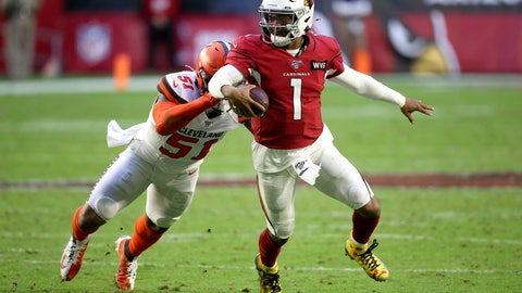 <p>               FILE - In this Dec. 15, 2019, file photo, Arizona Cardinals quarterback Kyler Murray (1) gets away from Cleveland Browns linebacker Mack Wilson (51) during the second half of an NFL football game in Glendale, Ariz. Coach Kliff Kingsbury and the Cardinals went 5-10-1 last year, but they're a popular pick to improve sharply this year. (AP Photo/Ross D. Franklin, File)             </p>