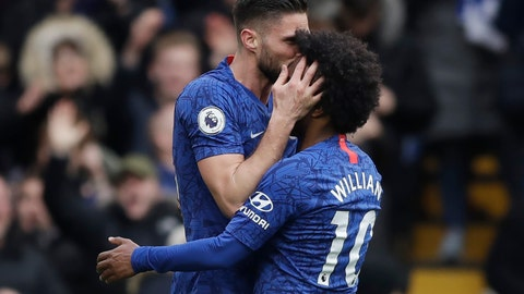 <p>               Chelsea's Olivier Giroud, left, celebrates with Chelsea's Willian after scoring his side's fourth goal during the English Premier League soccer match between Chelsea and Everton at Stamford Bridge stadium in London, Sunday, March 8, 2020. (AP Photo/Matt Dunham)             </p>