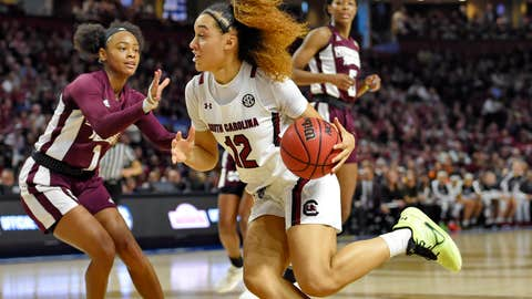 <p>               South Carolina's Brea Beal (12) drives while defended by Mississippi State's Myah Taylor (1) during a championship match at the Southeastern conference women's NCAA college basketball tournament in Greenville, S.C., Sunday, March 8, 2020. (AP Photo/Richard Shiro)             </p>