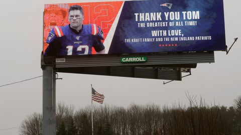 <p>               A billboard featuring an image of former New England Patriots quarterback Tom Brady stands along Route 1, in Walpole, Mass., about a mile from Gillette Stadium, which is in Foxborough, Mass., Thursday, March 19, 2020. The Kraft family and the New England Patriots signed off on a message on the sign meant to honor the quarterback. Robert Kraft is the owner of the football team. Brady said on social media on Tuesday, March 17, 2020 that he would not be returning to the Patriots and has become a free agent. (AP Photo/Steven Senne)             </p>