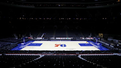 <p>               The empty court is seen at the Wells Fargo Center after an NBA basketball game between the Philadelphia 76ers and the Detroit Pistons, Wednesday, March 11, 2020, in Philadelphia. (AP Photo/Matt Slocum)             </p>