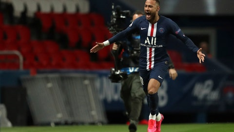 <p>               Paris Saint Germain's Neymar celebrates after scoring his side's first goal during the Champions League round of 16 second leg soccer match between PSG and Borussia Dortmund, Wednesday March 11, 2020 in Paris. The match is being played in an empty stadium because of the coronavirus outbreak. (UEFA via AP)             </p>