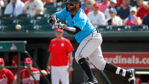 <p>               Miami Marlins' Jonathan Villar hits a sacrifice bunt to score Francisco Cervelli during the third inning of a spring training baseball game Wednesday, Feb. 26, 2020, in Jupiter, Fla. (AP Photo/Jeff Roberson)             </p>