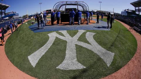 <p>               Toronto Blue Jays take batting practice before a baseball game against the New York Yankees Saturday, Feb. 22, 2020, in Tampa. (AP Photo/Frank Franklin II)             </p>
