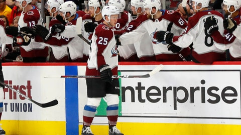 <p>               Colorado Avalanche right wing Logan O'Connor (25) celebrates his goal against the Detroit Red Wings in the second period of an NHL hockey game Monday, March 2, 2020, in Detroit. (AP Photo/Paul Sancya)             </p>