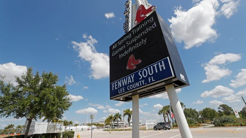 <p>               A sign announcing the suspension of spring training baseball games is displayed outside a closed JetBlue Park, the spring training home of the Boston Red Sox, Friday, March 13, 2020, in Fort Myers, Fla. Major League Baseball has suspended the rest of its spring training game schedule because of the coronavirus outbreak. The league is also delaying the start of its regular season by at least two weeks. (AP Photo/Elise Amendola)             </p>