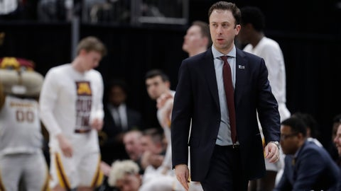 <p>               Minnesota head coach Richard Pitino watches during the second half of an NCAA college basketball game against Northwestern at the Big Ten Conference tournament, Wednesday, March 11, 2020, in Indianapolis. Minnesota won 74-57. (AP Photo/Darron Cummings)             </p>