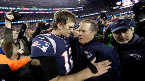 <p>               FILE - In this Jan. 21, 2018, file photo, New England Patriots quarterback Tom Brady, left, hugs coach Bill Belichick after the AFC championship NFL football game against the Jacksonville Jaguars, in Foxborough, Mass. Brady is an NFL free agent for the first time in his career. The 42-year-old quarterback with six Super Bowl rings said Tuesday morning, March 17, 2020, that he is leaving the New England Patriots. (AP Photo/David J. Phillip, File)             </p>