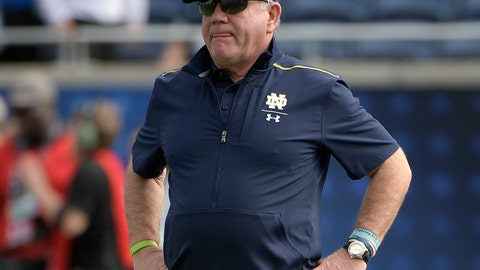<p>               FILE - In this Dec. 28, 2019, file photo, Notre Dame head coach Brian Kelly watches warmups before the Camping World Bowl NCAA college football game against Iowa State in Orlando, Fla. Notre Dame heads to spring practice with question marks at various spots, but not at quarterback where Ian Book will be returning for the Fighting Irish. (AP Photo/Phelan M. Ebenhack, File)             </p>