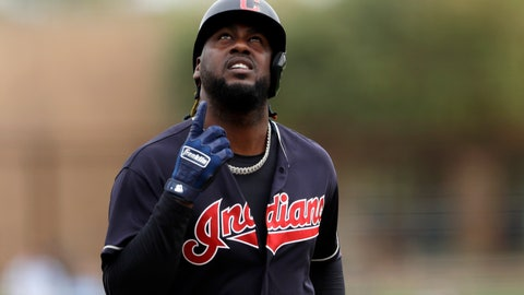 <p>               Cleveland Indians' Franmil Reyes points skyward after hitting a home run during the second inning of a spring training baseball game against the Chicago White Sox, Friday, Feb. 28, 2020, in Glendale, Ariz. (AP Photo/Gregory Bull)             </p>