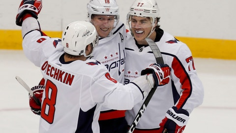 <p>               Washington Capitals' T.J. Oshie, right, celebrates with teammates Alex Ovechkin (8) and Nicklas Backstrom (19) after scoring against the Pittsburgh Penguins during the third period of an NHL hockey game, Saturday, March 7, 2020, in Pittsburgh. The Capitals won 5-2. (AP Photo/Keith Srakocic)             </p>