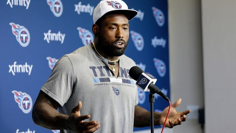 <p>               FILE - In this April 15, 2019, file photo, Tennessee Titans tight end Delanie Walker answers questions during a news conference in Nashville, Tenn. The Tennessee Titans have waived three-time Pro Bowl tight end Delanie Walker after injuries ended each of his last two season. The Titans announced the move Friday, March 13, 2020. (AP Photo/Mark Humphrey, File)             </p>