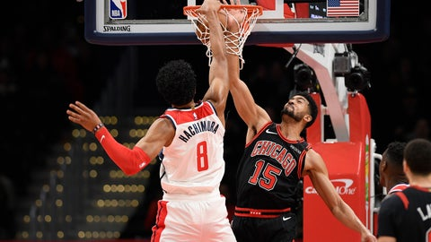 <p>               Washington Wizards forward Rui Hachimura (8), of Japan, dunks against Chicago Bulls forward Chandler Hutchison (15) during the first half of an NBA basketball game, Tuesday, Feb. 11, 2020, in Washington. The Wizards won 126-114. (AP Photo/Nick Wass)             </p>