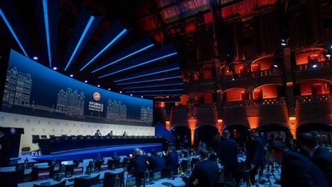 <p>               View of the meeting of European soccer leaders at the congress of the UEFA governing body in Amsterdam's Beurs van Berlage, Netherlands, Tuesday, March 3, 2020. (AP Photo/Peter Dejong )             </p>