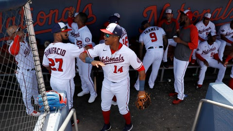 <p>               Washington Nationals center fielder Emilio Bonifacio (27) and second baseman Starlin Castro (14) tap arms as they get ready in the dugout prior to a spring training baseball game against the New York Yankees, Thursday, March 12, 2020, in West Palm Beach, Fla. Major League Baseball is delaying the start of its season by at least two weeks because of the coronavirus outbreak and has suspended the rest of its spring training game schedule. (AP Photo/Julio Cortez)             </p>