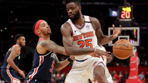 <p>               Washington Wizards' Shabazz Napier, front left, knocks the ball away from New York Knicks' Reggie Bullock (25) during the first half of an NBA basketball game Tuesday, March 10, 2020, in Washington. (AP Photo/Luis M. Alvarez)             </p>