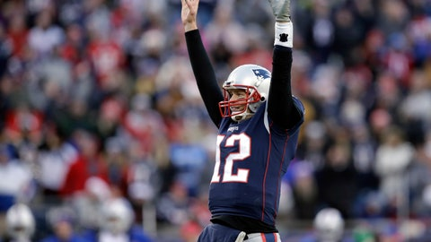 <p>               FILE - In this Dec. 24, 2017, file photo, New England Patriots quarterback Tom Brady celebrates a touchdown by running back Dion Lewis during the second half of the team's NFL football game against the Buffalo Bills in Foxborough, Mass. Brady's .774 regular season winning percentage ranks first in the Super Bowl era among quarterbacks with at least 50 starts. With 249 victories overall, including playoffs, he's won almost as many games in two decades as the Tampa Bay Buccaneers have won (273) in the franchise's 44-season history. (AP Photo/Charles Krupa, File)             </p>