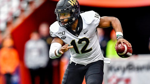 <p>               FILE - In this Nov. 30, 2019, file photo, then-Wake Forest quarterback Jamie Newman scrambles out of the pocket against Syracuse during the first half of an NCAA college football game in Syracuse, N.Y. Georgia coach Kirby Smart says quarterback is the position most affected by spring practice being canceled by the coronavirus pandemic. It's bad timing for the Bulldogs, who would have used the spring as a time to have Wake Forest transfer Jamie Newman and others compete to replace three-year starter Jake Fromm. (AP Photo/Adrian Kraus, File)             </p>