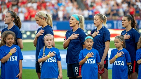 <p>               United States players Tierna Davidson, Lindsey Horan, Julie Ertz, Abby Dahlkemper, and Kelley O'Hara stand with their jerseys turned inside out during the playing of the national anthem before a SheBelieves Cup women's soccer match against Japan, Wednesday, March 11, 2020 at Toyota Stadium in Frisco, Texas. (AP Photo/Jeffrey McWhorter)             </p>