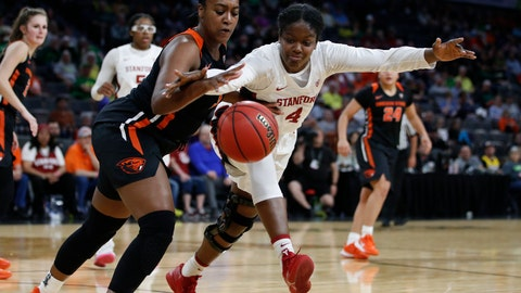<p>               Oregon State's Madison Washington, left, and Stanford's Nadia Fingall (4) vie for the ball during the second half of an NCAA college basketball game in the quarterfinal round of the Pac-12 women's tournament Friday, March 6, 2020, in Las Vegas. (AP Photo/John Locher)             </p>
