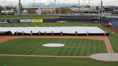 <p>               Grounds crew members pull a tarp toward the infield to cover it in anticipation of coming rain after a spring training baseball game between the Los Angeles Angels and the Seattle Mariners Tuesday, March 10, 2020, in Peoria, Ariz. (AP Photo/Elaine Thompson)             </p>