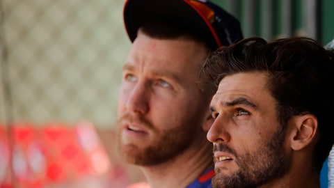 <p>               Texas Rangers' Todd Frazier, left, and Greg Bird watch batting practice from the dugout during spring training baseball practice Monday, Feb. 17, 2020, in Surprise, Ariz. (AP Photo/Charlie Riedel)             </p>