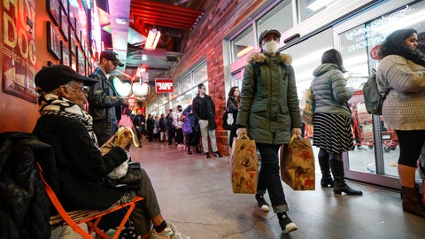 <p>               Shoppers wait in a line stretching outside of a Trader Joe's supermarket, Thursday, March 12, 2020, in the Brooklyn borough of New York. Mayor Bill de Blasio said Thursday he will announce new restrictions on gatherings to halt the spread of the new coronavirus in the coming days, but he hopes to avoid closing all public events such as Broadway shows. The vast majority of people recover from the new coronavirus. According to the World Health Organization, most people recover in about two to six weeks, depending on the severity of the illness. (AP Photo/John Minchillo)             </p>