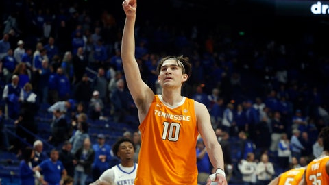 <p>               Tennessee's John Fulkerson (10) celebrates after Tennessee defeated Kentucky 81-73 in an NCAA college basketball game Tuesday, March 3, 2020, in Lexington, Ky. (AP Photo/James Crisp)             </p>