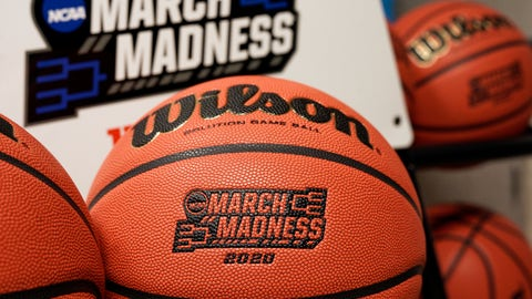 <p>               Official March Madness 2020 tournament basketballs are seen in a store room at the CHI Health Center Arena, in Omaha, Neb., Monday, March 16, 2020. Omaha was to host a first and second round in the NCAA college basketball Division I tournament, which was cancelled due to the coronavirus pandemic. (AP Photo/Nati Harnik)             </p>