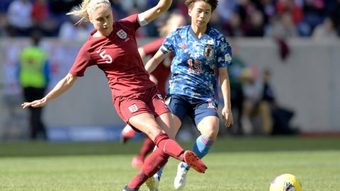<p>               England defender Steph Houghton (5) passes the ball as Japan forward Mina Tanaka (15) looks on during the first half of a SheBelieves Cup soccer match Sunday, March 8, 2020, in Harrison, N.J. (AP Photo/Bill Kostroun)             </p>